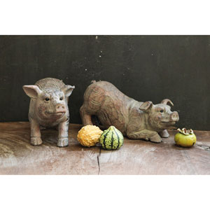 Resin Carved Pig, Set of Two