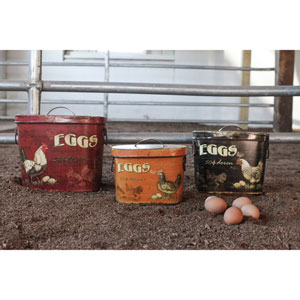 Rooster and Egg Tin Containers, Set of Three