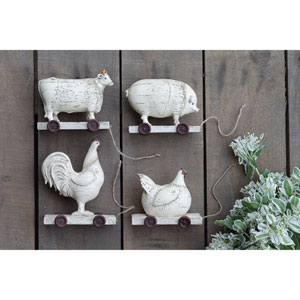 Distressed Cream Farm Animals, Set of Four