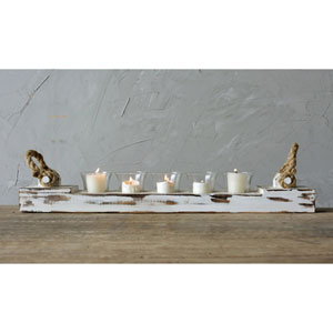 White Wood Votive Holder with Five Glass Cups