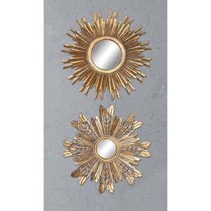 Gold Round Sunburst Mirror, Set of Two