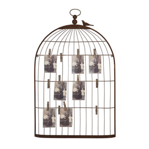 Rust Metal Birdcage Shape Card and Photo Holder