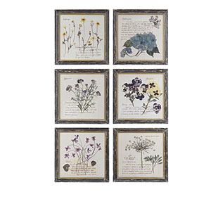 Floral Wood Square Wall Art, Set of Six