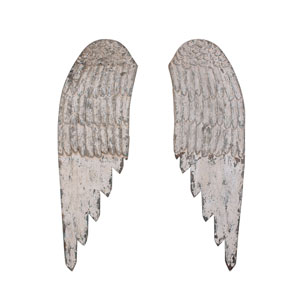 Distressed White Wood Angel Wings