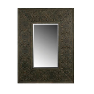 Rust Rectangular Embossed Metal Frame Mirror