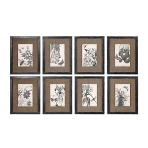 Framed Burlap Wall Decor, Set of Eight
