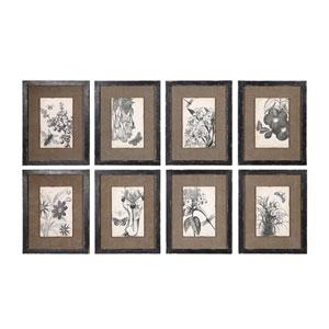 Framed Burlap Wall Decor, Set of Eight