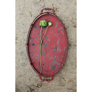 Distressed Red Metal Oval Tray with Handles