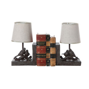 Bronze Bird Lamp Bookends with Shades