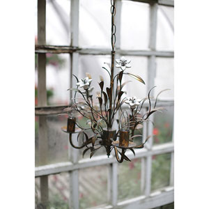 Metal Flowers Four-Light Chandelier