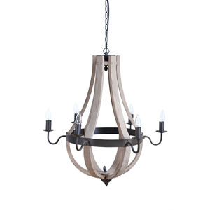 Wood and Metal Six-Light Chandelier