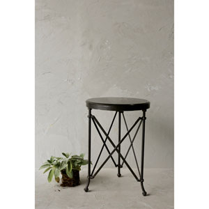 Black Metal Table with Marble Top