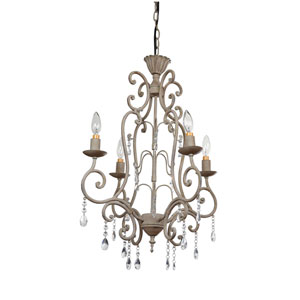 Distressed Cream Four-Light Metal Chandelier with Crystals