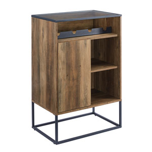 William Barnwood and Black Bar Cabinet with Glass Top