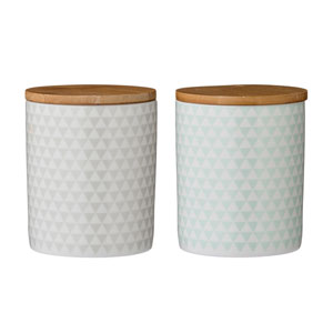 Olivia Ceramic Jar with Wood Lid, Set of 2