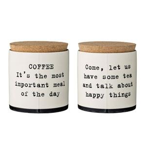 Josephine Ceramic Jar with Cork Lid, 2 Styles