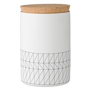 Carine White and Black Ceramic Jar with Cork Lid