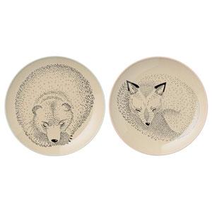 Adelynn Round Bear and Fox Ceramic Plate, Set of 2