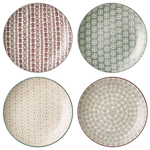 Karine Round Ceramic Plate, Set of 4