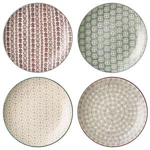 Karine Round Ceramic Plate, Set of 4