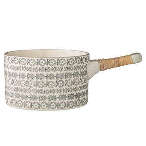Karine Ceramic Serving Pot with Bamboo Handle