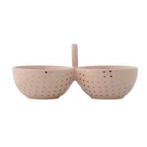 Henrietta Nude with Gold Dots Ceramic Double Bowl