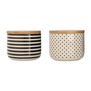 Off White and Black Ceramic Jar with Wood Lid, Set of 2