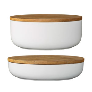 White Ceramic Bowls with Bamboo Lids, Set of 2