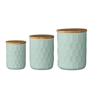 Mint Ceramic Jars with Bamboo Lids, Set of 3