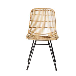 Natural with Black Frame Rattan Armless Chair