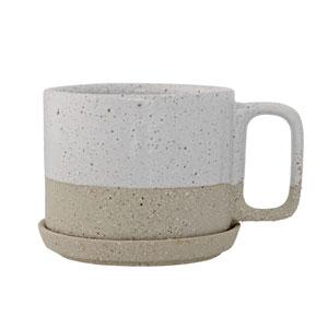 Barbra White Ceramic Mug with Saucer, Set of Two