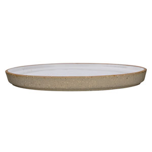 Barbra White Round Ceramic Plate