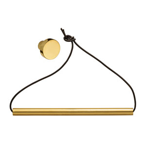 Leather Paper Towel Holder with Gold Finished Knob and Bar