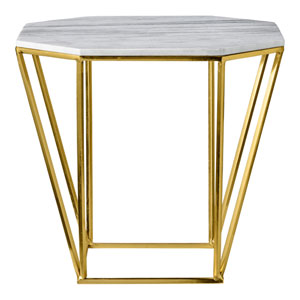 Gold with White Marble Top Pentagonal Table