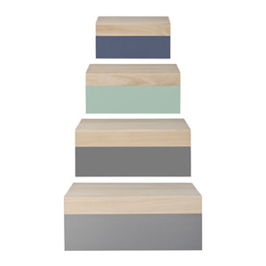 Gray and Mint Wood Storage Boxes, Set of 4