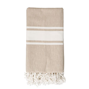 Beige with Ivory Stripes Cotton Throw