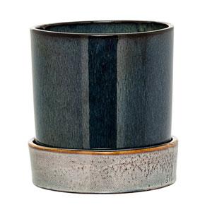Black Ceramic Flower Pot with Saucer