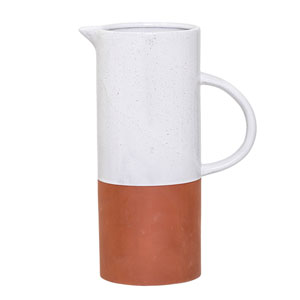 White and Clay Terracotta Pitcher