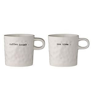 Coffee Break and Tea Time Ceramic Mug, Set of 2