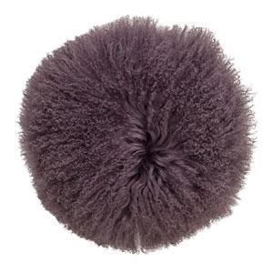 Plum 14 In. Round Tibetan Lamb Fur Pillow