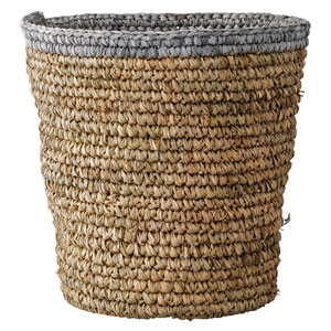 Gray Edge Raffia Basket