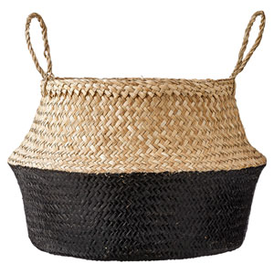Natural and Black Seagrass Basket with Handles