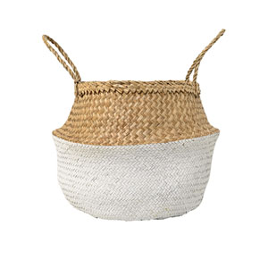 Natural and White Seagrass Basket with Handles