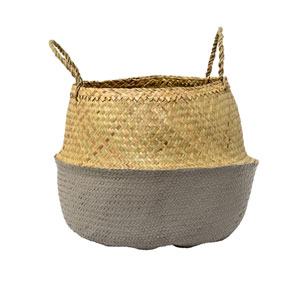 Natural and Gray Seagrass Basket with Handles