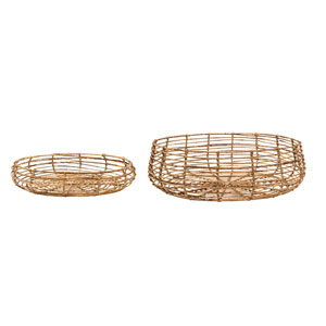 Round Rattan Baskets, Set of 2