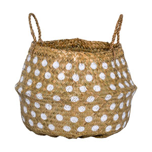 White Dot Seagrass Basket with Handles