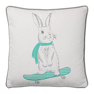 Skateboard Rabbit 18 In. Square Cotton Pillow