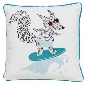 Surfing Fox 16 In. Cotton Pillow