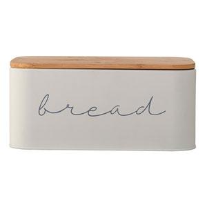 Gray Metal Bread Bin with Bamboo Lid
