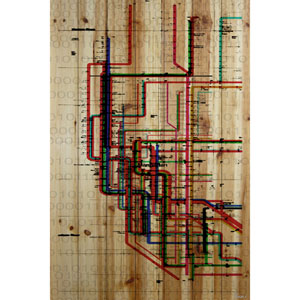 Subway 40 x 60 In. Painting Print on Natural Pine Wood
